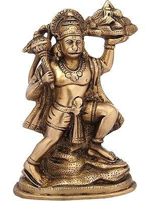 Lord Hanuman Holding the Mountain of Herbs (Sanjeevani Booti)