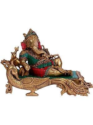Lord Ganesha Resting on Peacock Chowki