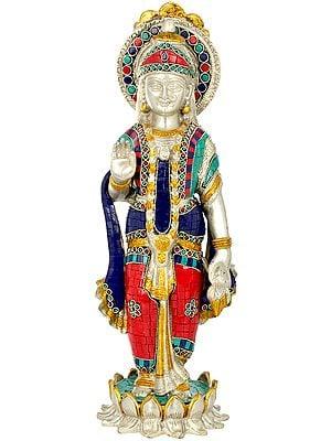 Goddess Lakshmi Standing On a Blooming Lotus