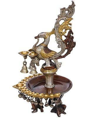 Twenty Two Wicks Peacock Puja Lamp With Bells