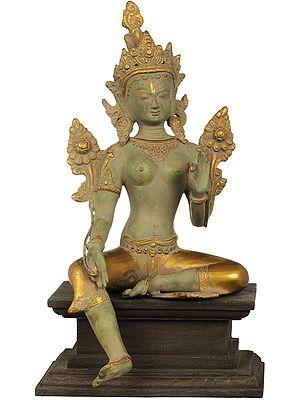 Tibetan Buddhist Deity Green Tara, Steeped In Dhyana On A Wood Pedestal