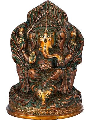 Throne Ganesha With Leg Resting on Mouse Head