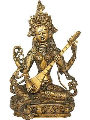 Lotus Seated Goddess Saraswati, Her Foot Resting on Her Swan