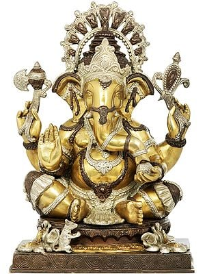 Lord Ganesha Wearing A Lotus Petals Crown