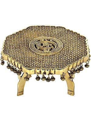 Engraved Ritual Chowki with Ghungroos and Elephant Head Legs