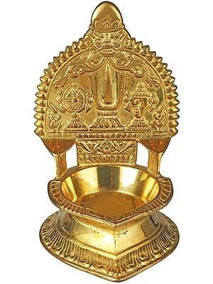 Lamp with Vaishnava Symbols
