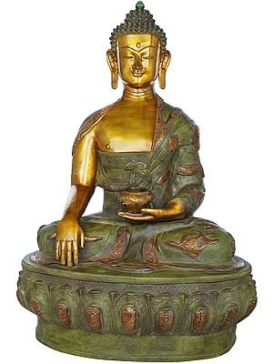 Tibetan Buddhist Lord Buddha in Bhumisparsha Mudra Wearing a Robe Carved With Auspicious Symbols - Large Size