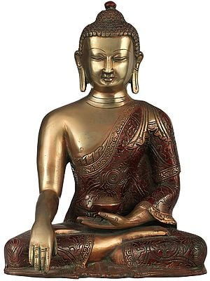 Tibetan Buddhist Lord Buddha in Bhumisparsha Mudra Wearing a Carved Robe