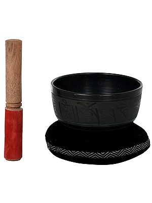 Singing Bowl With The Image of Tibetan Buddhist Lord Buddha in Bhumispasha Buddha