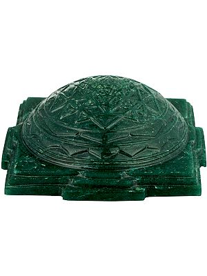 Shri Yantra Carved in Green Aventurine