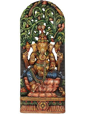Lotus Seated Blessing Ganesha With Floral Aureole - Large Size