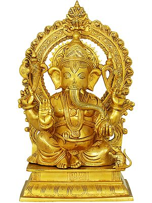 Blessing Ganesha Seated on a Chowki With Aureole