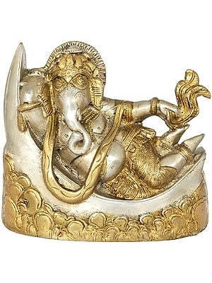 Ganesha Relaxing On a Crescent Moon