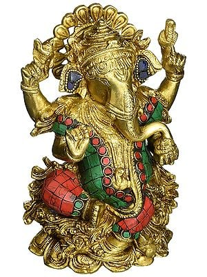 Lord Ganesh Sitting on Lotus with Inlay