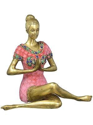 Namaste Yoga Lady Idol with Inlay