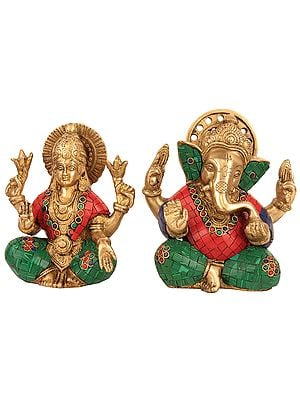 Lord Ganesha and Goddess Lakshmi with Inlay