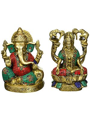 Lord Ganesh and Goddess Lakshmi with Inlay
