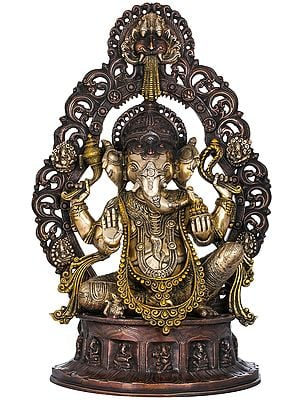 Ganesha Seated on Musicial Ganesha Base With Impressive Kirtimukha Aureole