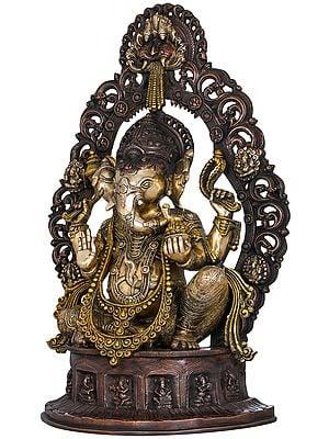 Ganesha Seated on Musicial Ganesha Base With Impressive Kirtimukha Aureole