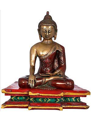 Buddha Seated on Wooden Chowki, His Hand In Bhumisparsha Mudra