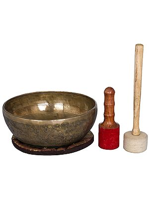 Tibetan Biuddhist Singing Bowl with Image of White Tara