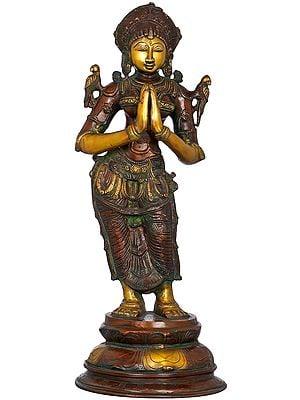 Welcome Lady in Namaste Mudra