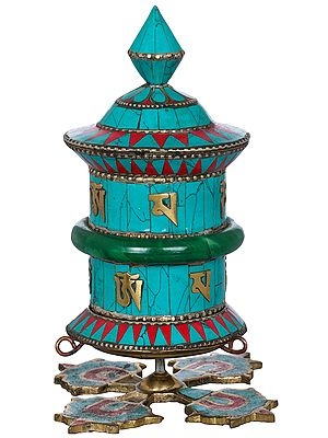 Tibetan Buddhist Prayer Wheel On Stand -Made in Nepal