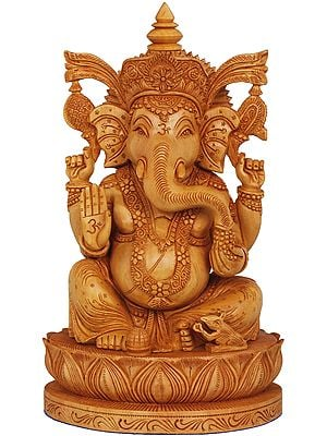 Blessing Ganesha Seated on a Lotus