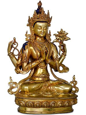 Chenrezig (Four-Armed Avalokiteshvara)-Made in Nepal Tibetan Buddhist Deity