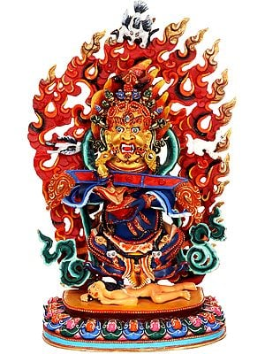 Two Armed Mahakala Tibetan Buddhist Deity - Made in Nepal