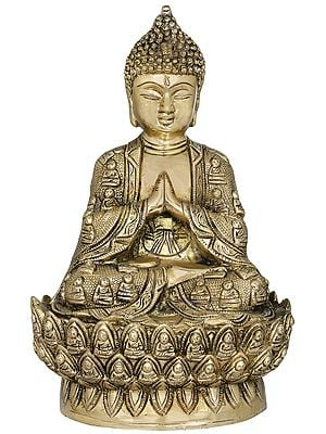Tibetan Buddhist Lord Buddha in Namaskara Mudra, Robe and Lotus Seat Consist of Buddha Figures