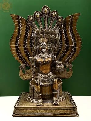Superfine Garuda Seated on Peacock Throne Holding Amrit Kalasha and a Serpent in Hands