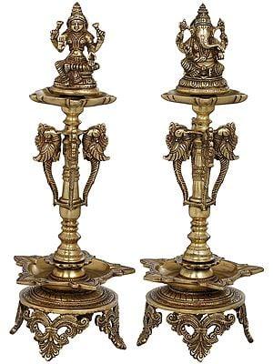 Lakshmi Ganesha Auspicious Lamps