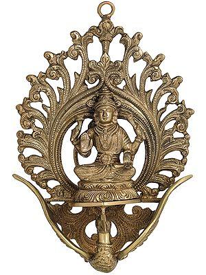 Goddess Lakhmi Seated on Flying Swan (Wall Hanging)