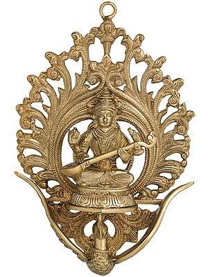Goddess Saraswati Seated on Flying Swan (Wall Hanging)