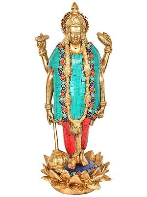Standing Lord Vishnu on Blooming Lotus Pedestal
