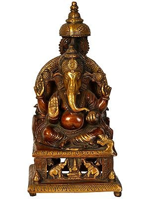 Lord Ganesha Seated on Throne with Gajalakshmi on Base
