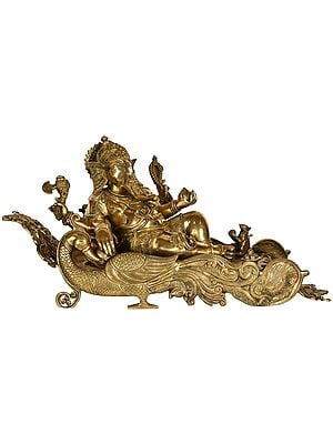 Ganesha Seated on Mayur Recliner - Large Size
