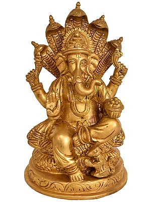 Four-Armed Ganesha Seated on Five-Hooded Serpent