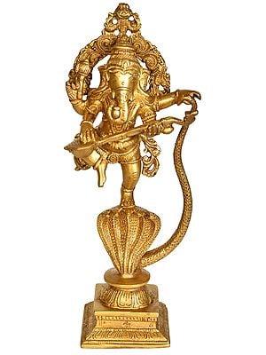 Ganesha Dancing and Playing Veena On a Serpent