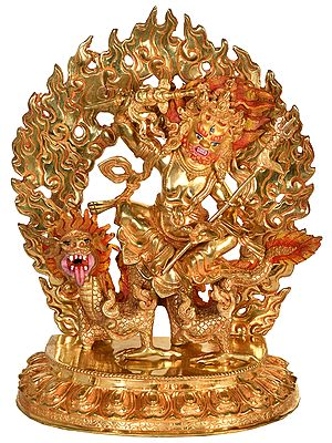 Tibetan Buddhist Deity Kubera Seated On a Dragon (Made in Nepal)