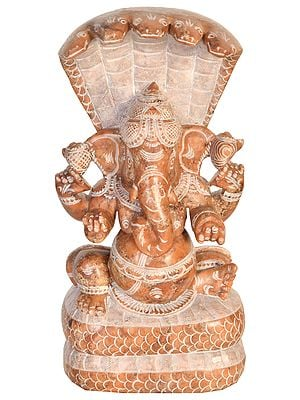 Ganesha with Five Hooded Serpent Canopy Atop