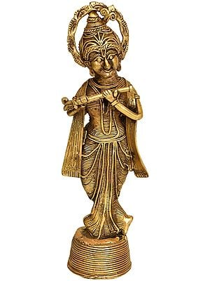 Fluting Lord Krishna (Tribal Statue from Bastar)