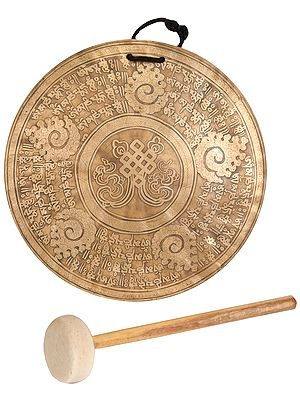 The Endless Knot Monastery Gong with Mallet - Tibetan Buddhist