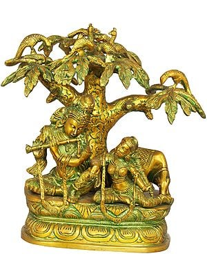 Krishna Playing Flute for Radha Under a Tree