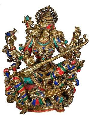 The Ethereal Sarasvati Cradles her Veena