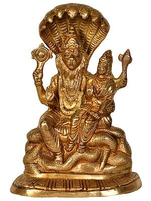 Lord Narasimha with Goddess Lakshmi Seated on Sheshanag