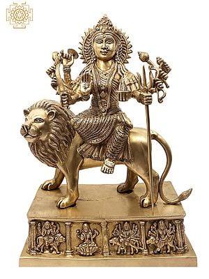 The Ten Armed Simhavahini Durga On Ashta-Devi Base