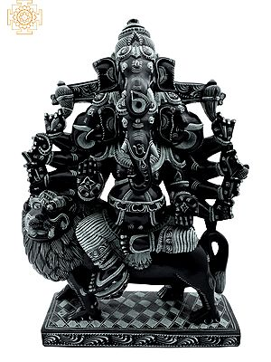 Heramba Ganesha Seated on Lion