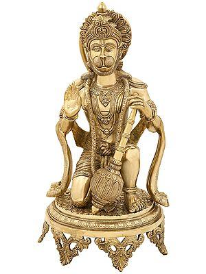 Aashirvada Hanuman Knelt Upon A Richly Engraved Pedestal